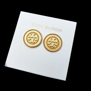 Tory Burch VINTAGE GOLD Circle Logo Stud Earrings